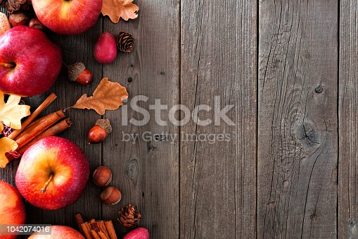 1020586746istockphoto Autumn side border of apples and fall ingredients over wood 1042074016