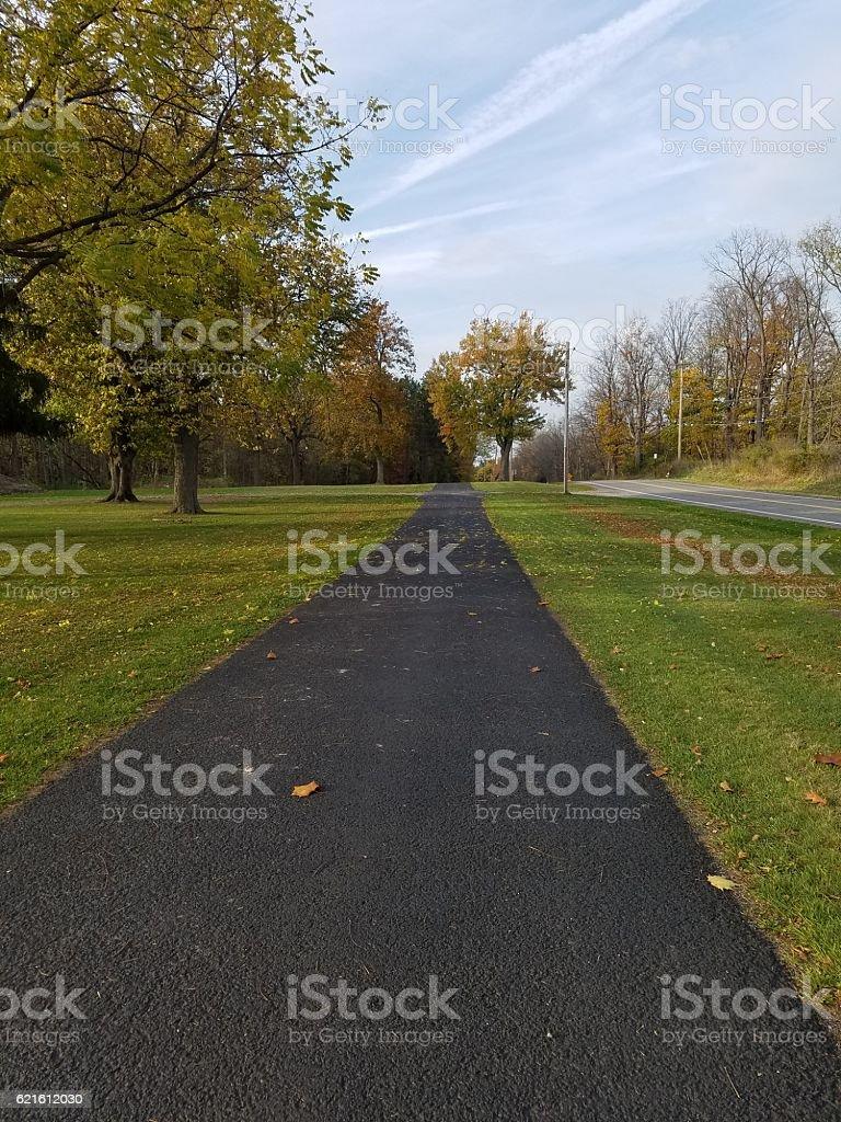 Autumn Sidewalk stock photo