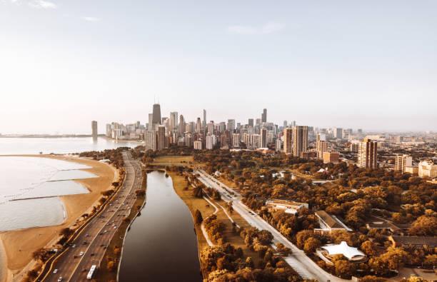 autumn skyline of chicago stock photo