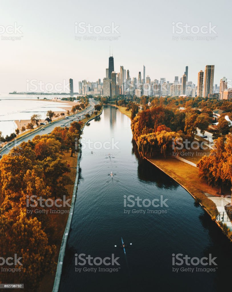 autumn skyline of chicago stock photo