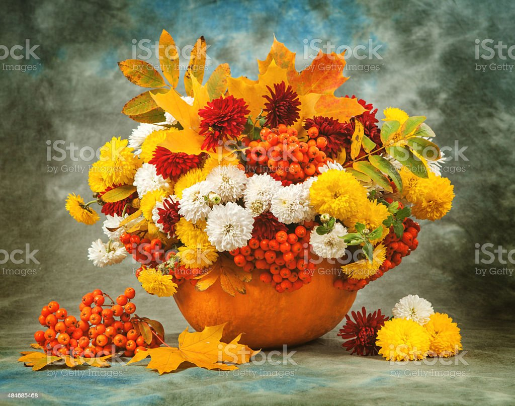 Autumn still life. Flower, fruit and vegetables. stock photo
