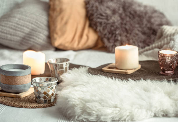 autumn still life home decor in a cozy house. - hygge imagens e fotografias de stock
