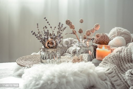 istock Autumn still Life home decor in a cozy house. 1168787868