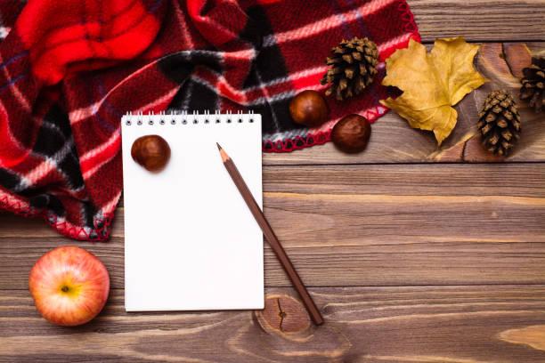 Sonbahar natürmort - defter, kalem, battaniye ve ahşap arka plan üzerinde sonbaharın hediyeler stok fotoğrafı