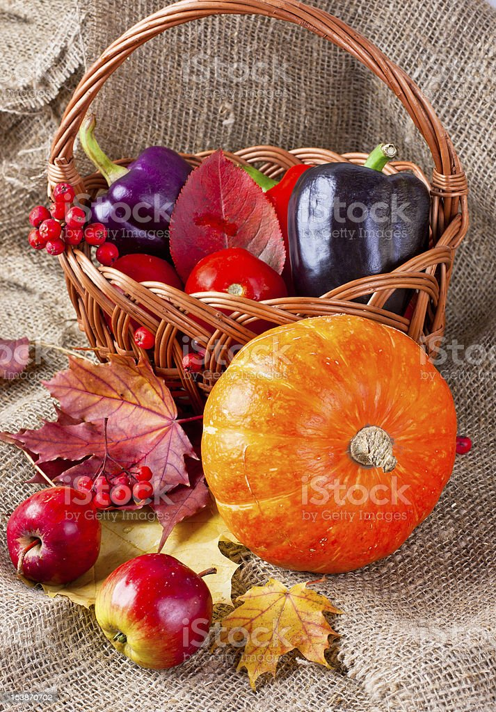 autumn still life of vegetables, fruits and leaves royalty-free stock photo