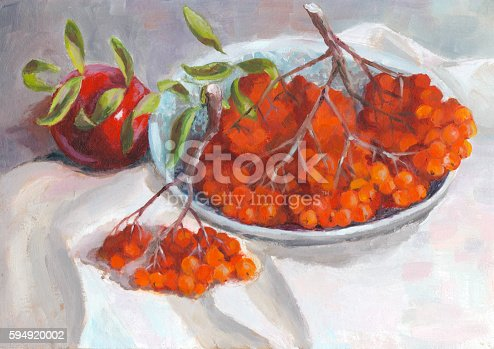 istock Autumn still life with apple and rowan - oil painting 594920002