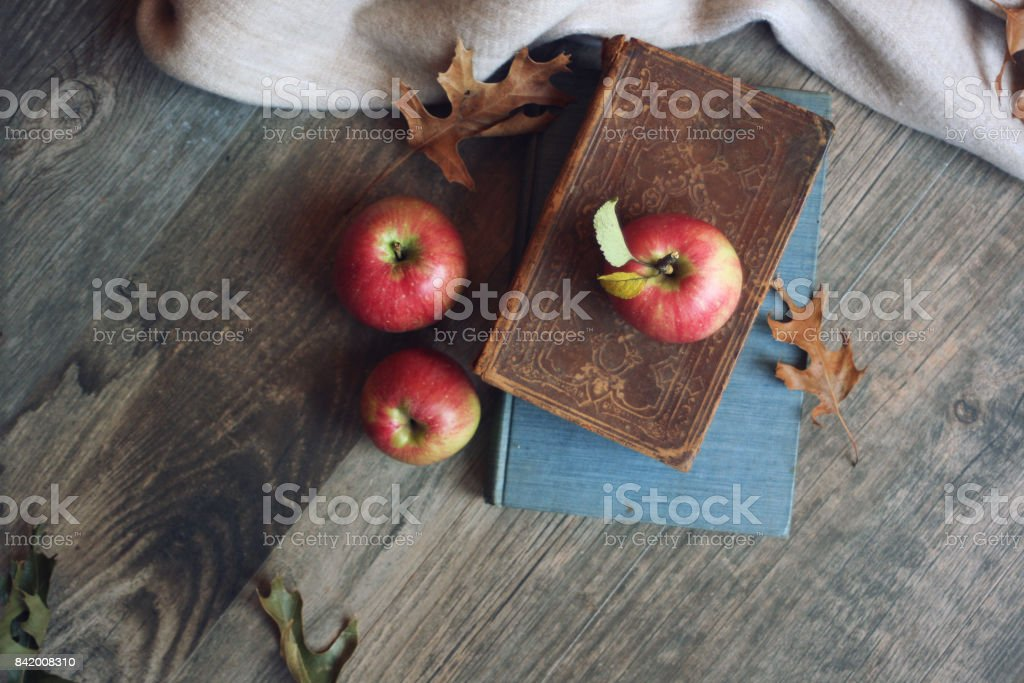 Autumn still life with apples, warm blanket, books and leaves over rustic wood background, shot directly above