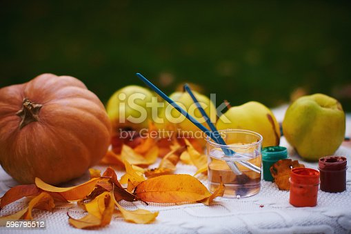 istock Autumn still life with pumpkin and apples 596795512