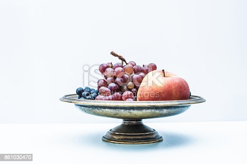 Autumn Still Life with Red Grapes and Apple in Metallic Footed Bowl