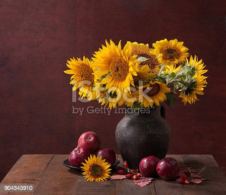 Autumn Still Life With Sunflowers And Apples On Old Wooden Table Stock Photo More Pictures Of Apple