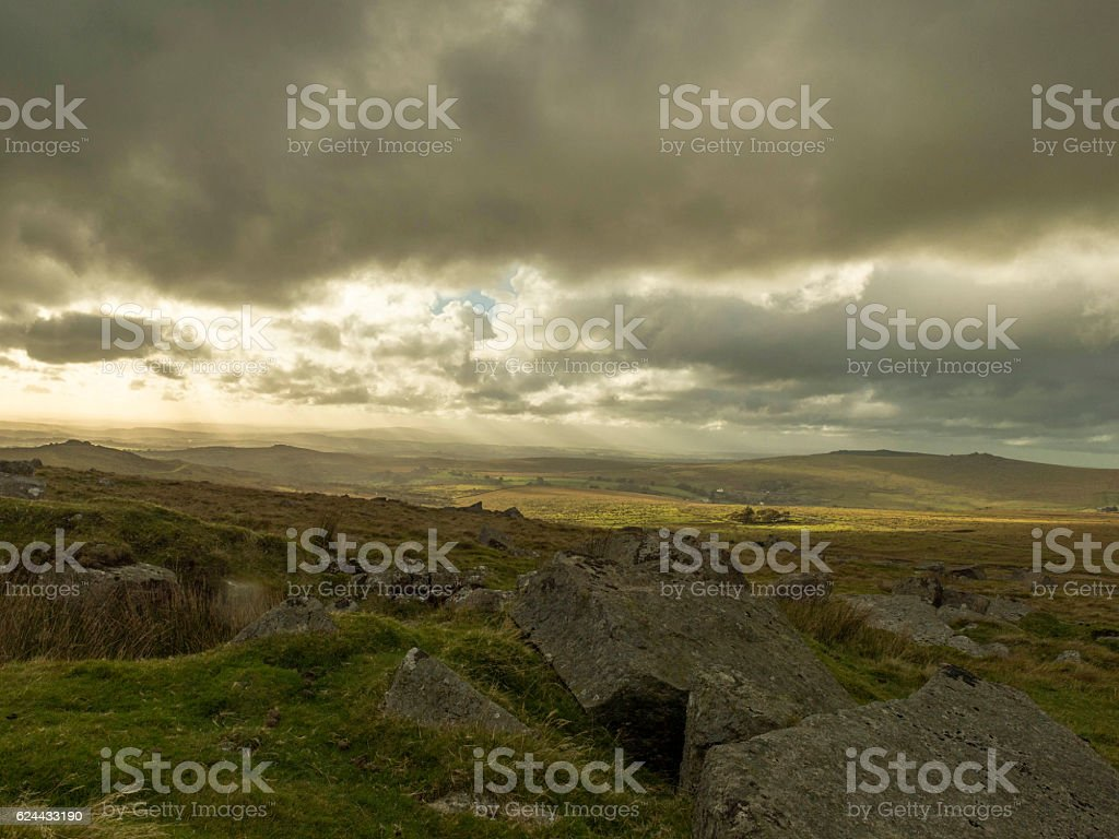 Autumn storm clouds over Moortown and Sampford Spiney stock photo