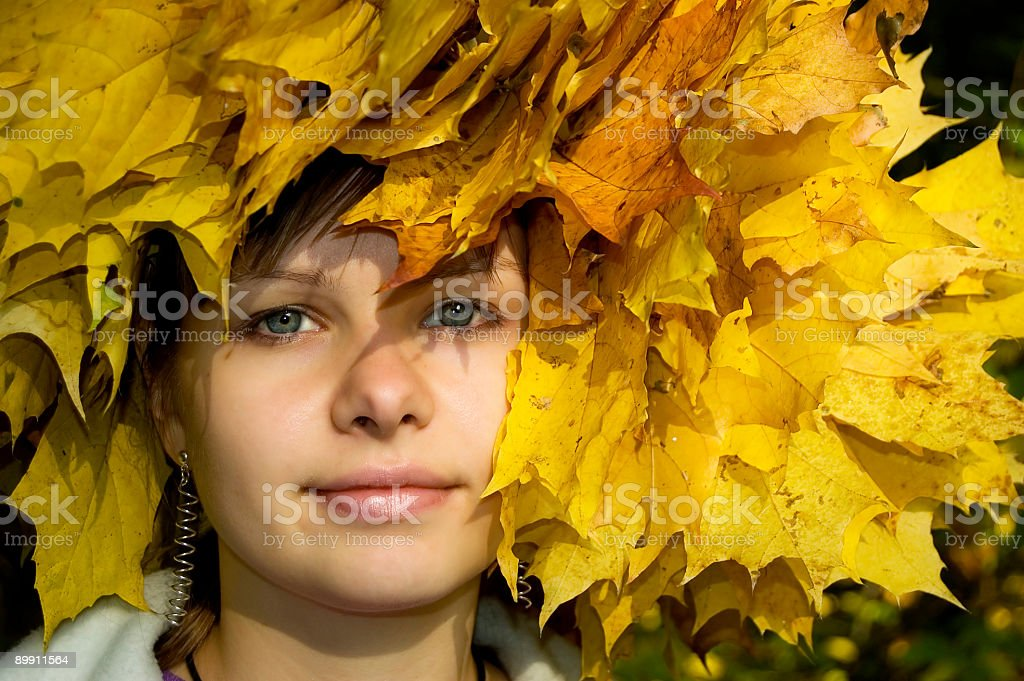 autumn story's. gilr in leaf. royalty-free stock photo