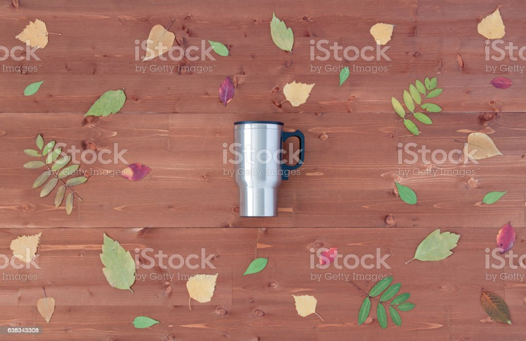 Autumn stylized photo on wooden background. Top view. stock photo