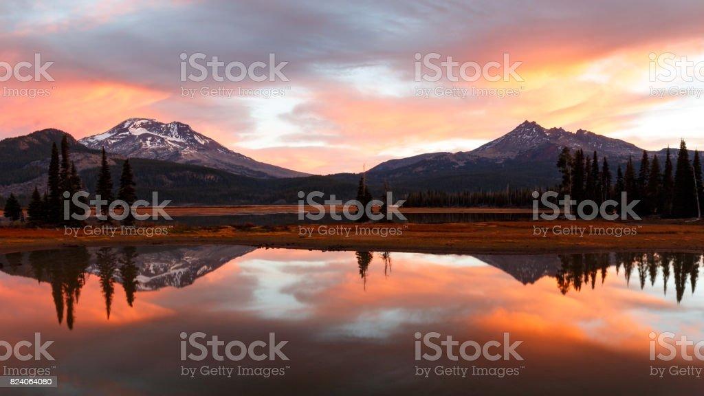 Autumn Sunrise at Sparks Lake, Oregon stock photo