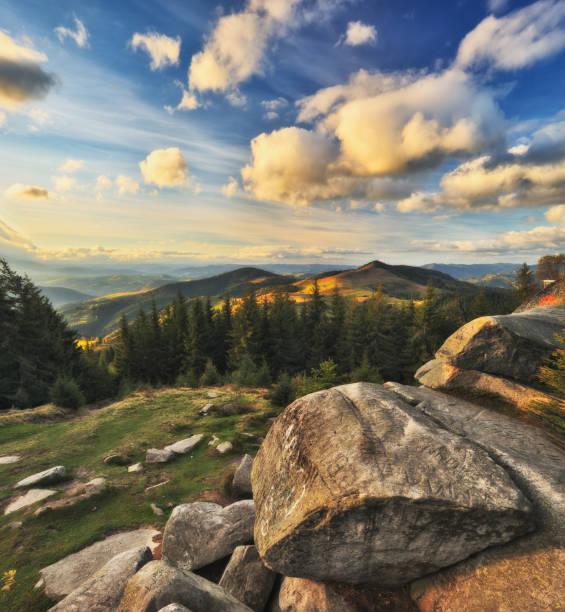 카 르 파 티아 산맥에가 일출입니다. 그림 같은 안개 아침 - 카르파티아 산맥 뉴스 사진 이미지