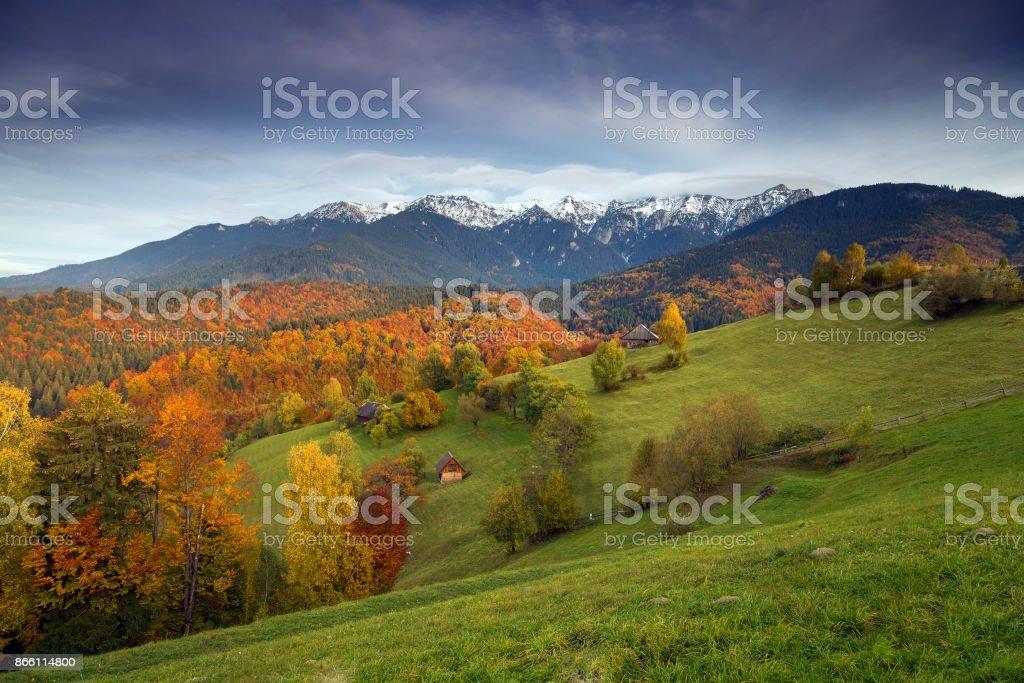 Autumn sunrise landscape stock photo