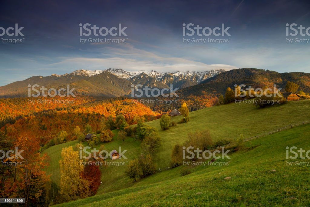 Autumn sunrise landscape stock photo