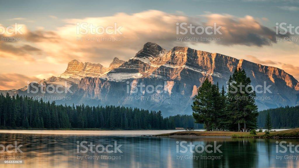 Autumn Sunrise on Mount Rundle from Two Jack Lake - Banff National Park stock photo