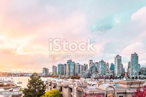 istock Autumn Sunset at Downtown Vancouver, Canada 628004288
