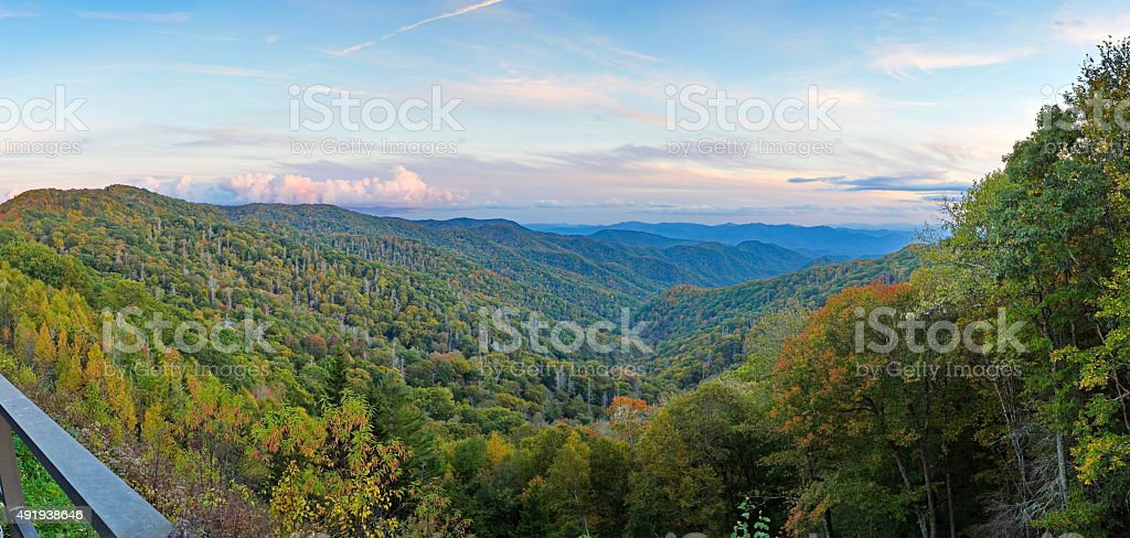 Autumn sunset in the smokies stock photo