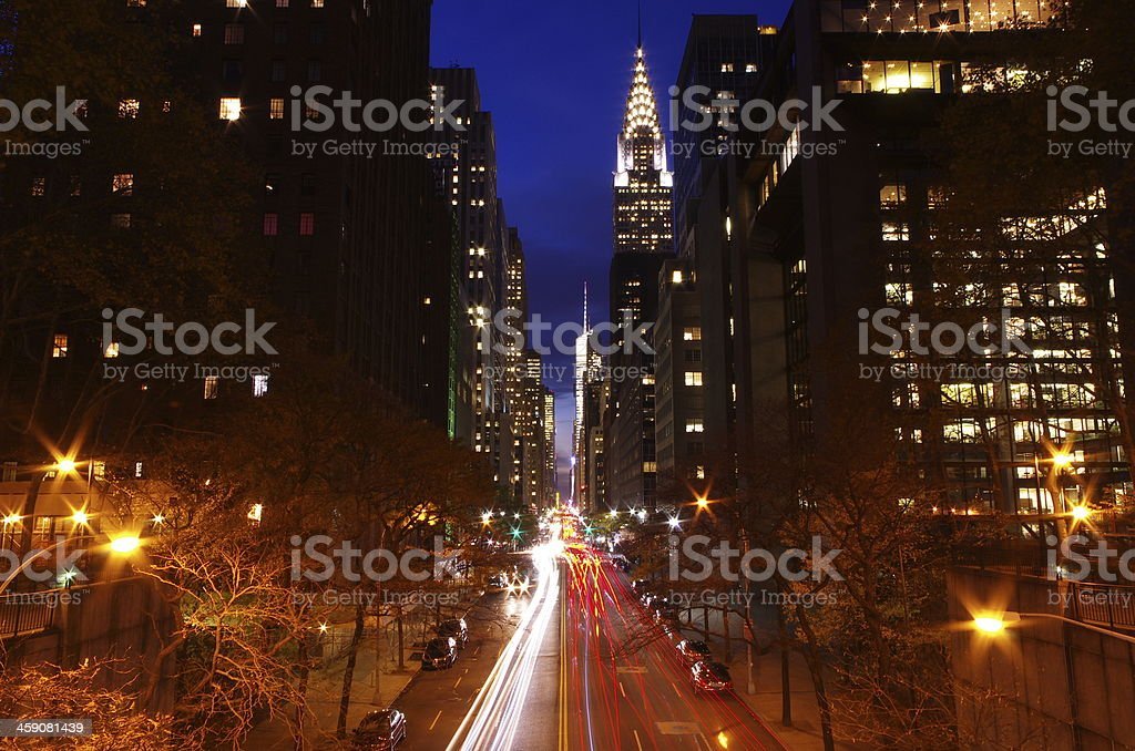 Autumn sunset on 42 street stock photo