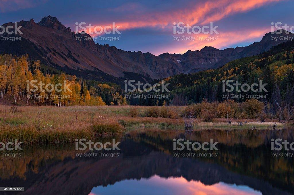 Autumn Sunset over Mount Sneffels stock photo