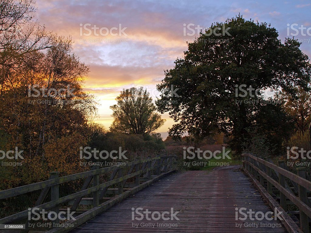 Autumn sunset. stock photo