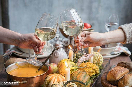 istock Autumn table setting with pumpkins. Thanksgiving dinner and fall decoration 1003547276