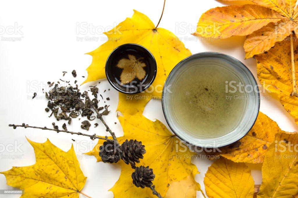 Autumn tea time still life closup on white background royalty-free stock photo