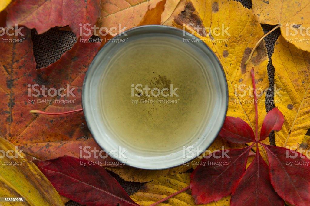 Autumn tea time still life top view closup royalty-free stock photo