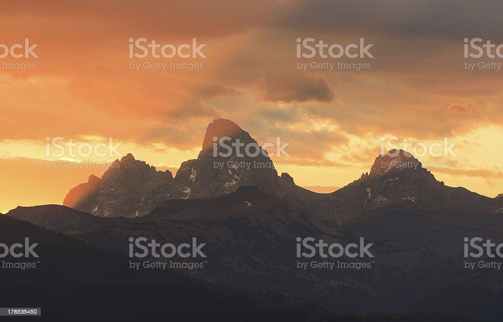 Autumn Teton Sunrise stock photo