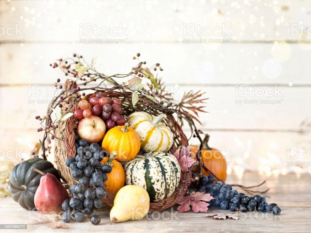 Herbst Thanksgiving Füllhorn auf rustikalen weißem Holz Hintergrund – Foto