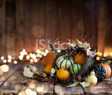 Autumn Thanksgiving cornucopia on a rustic wood background. Very shallow depth