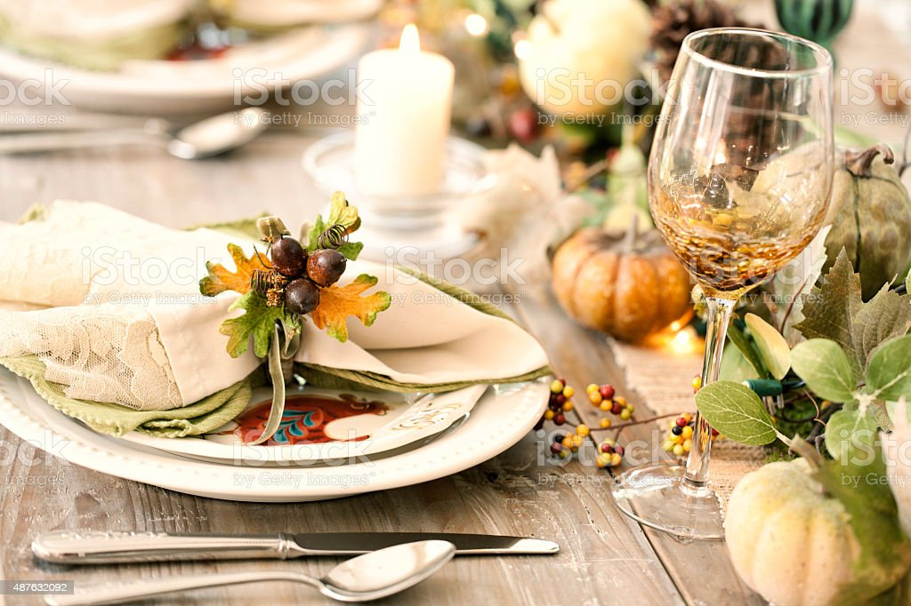 Autumn Thanksgiving Dining Table Stock Photo - Download ...