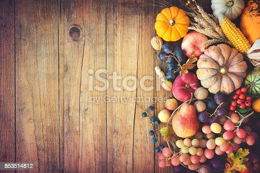 istock Autumn thanksgiving still life on wooden table 853514812