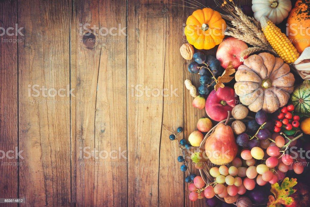 Autumn thanksgiving still life on wooden table stock photo