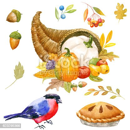istock Autumn Thanksgiving watercolor clipart 623295366