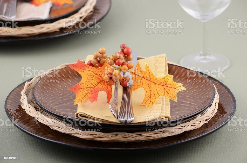 Autumn theme place setting royalty-free stock photo