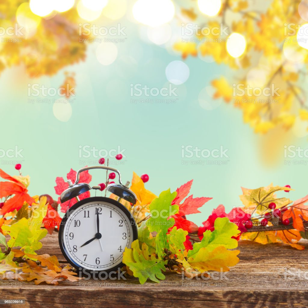 Autumn time - fall leaves with clock stock photo