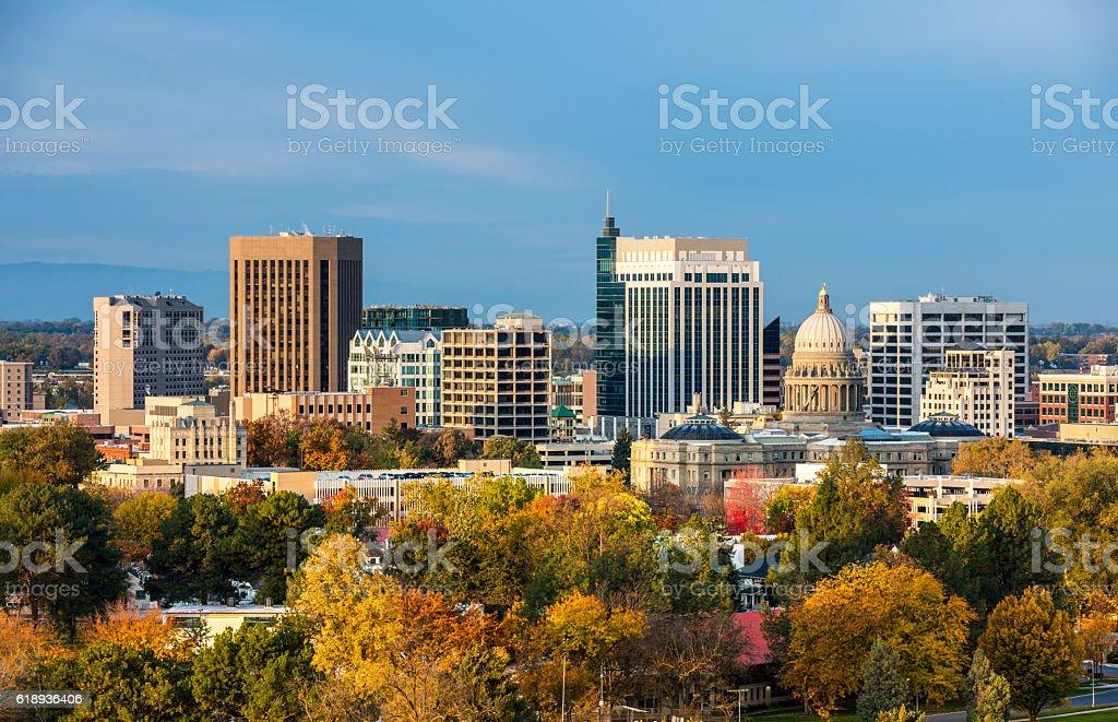 Autumn trees and the skyline of Boise Idaho stock photo
