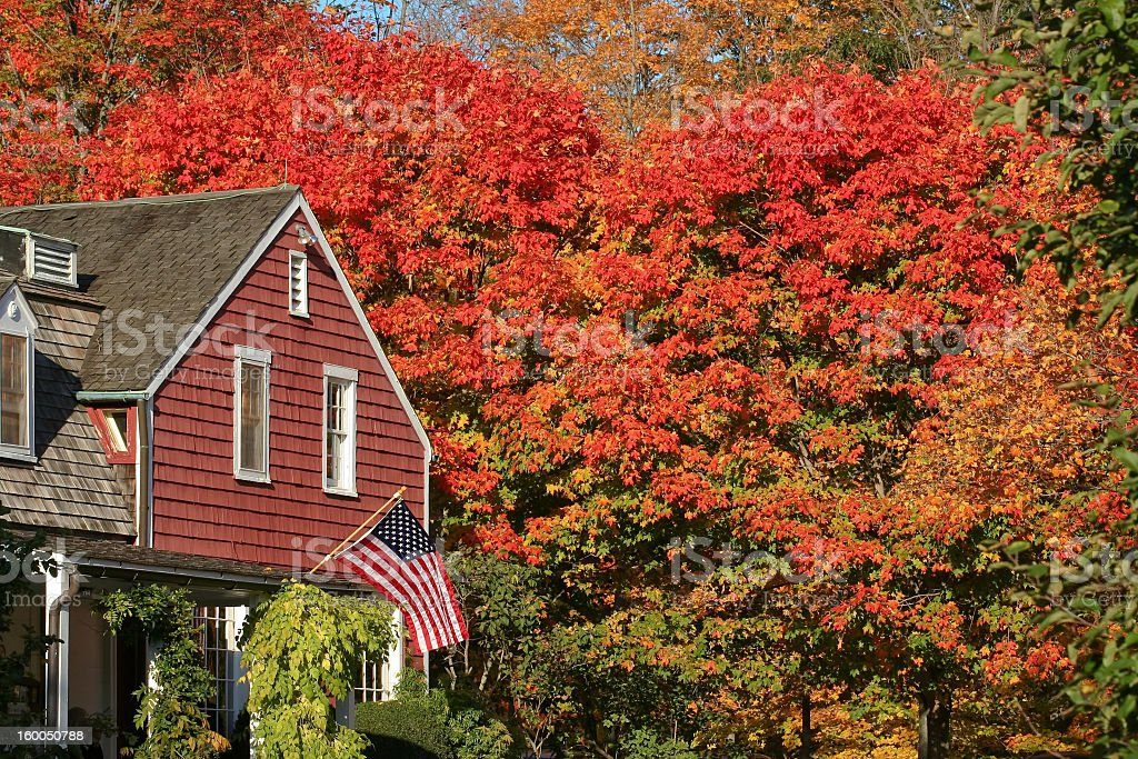 Autumn trees near building with flag at Weir Farm stock photo