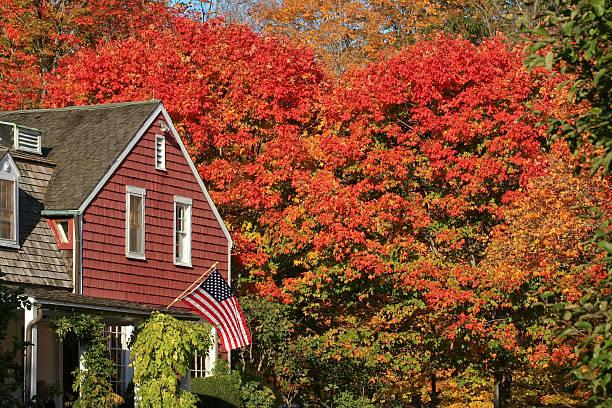 Autumn trees near building with flag at Weir Farm