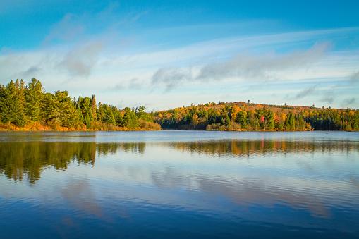 Autumn in Algonquin Park, Ontario, Canada. Tom Thomson Lake.