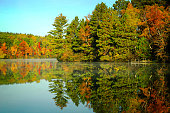 beautiful fall colors with reflection in the lake