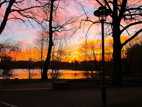 Autumn Twilight Sunset Weissensee Lake Reflection Flaming Sky and Pink Clouds with Bare Trees Forest and a Street Lamp Silhouette