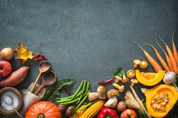 Autumn vegetables ingredients for tasty Thanksgining or Christmas dishes stock photo
