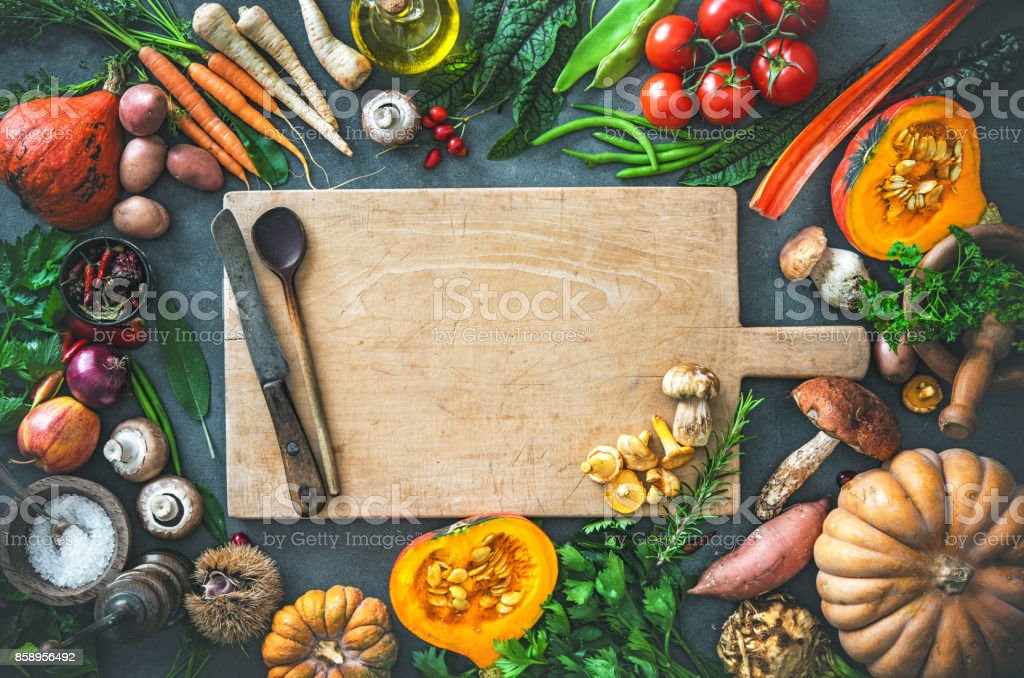 Autumn vegetables ingredients for tasty Thanksgiving or Christmas dishes stock photo