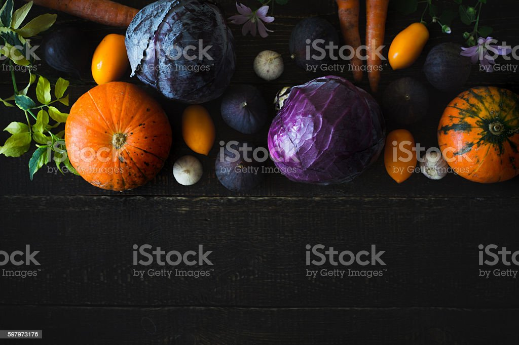 Autumn vegetables on the  wooden table top view – Foto