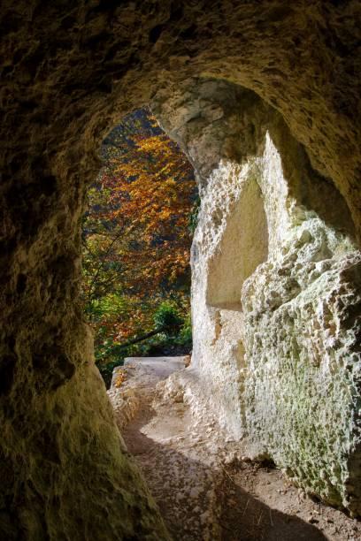 herbstliche ansicht von der diana grotto ermitage arlesheim, schweiz - dornach stock-fotos und bilder