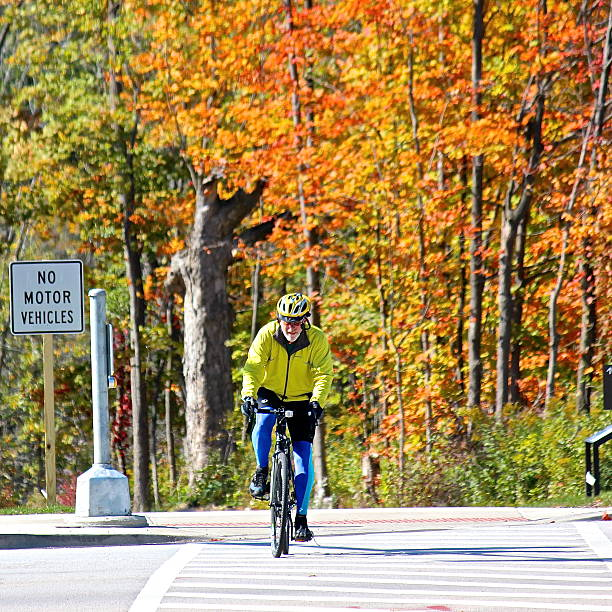Autumn view of biker riding on forest preserve trail stock photo